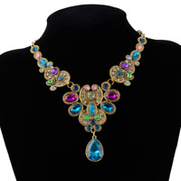 Vintage Women Rhinestone Crystal Gem Flower Pendant Choker Alloy Bib Necklace