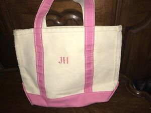 LL Bean Beige and Pink Small Tote Bag