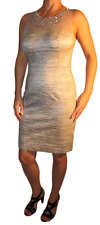 Eliza J Metallic Beaded Illusion Bodice Sheath Dress Taupe Size 12P