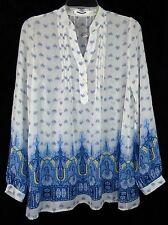 Blu Pepper Sheer Blue & White Longsleeve Blouse Shirt Paisley Print Small #A