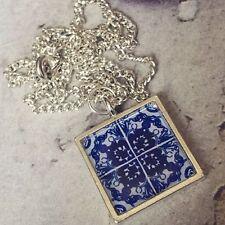 Unique Espagnole traditionnelle Tile collier bleu blanc Espagne Maroc Cadeau Alhambra