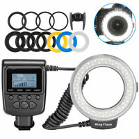 Camera DSLR LED Ring Flash Light Lamp W.3 Color Filter For Nikon Canon Sony SLR