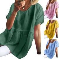 Damen Kurzarm Shirtkleid Sommer Lose Minikleid Baggy Tunika Longshirts Übergröße