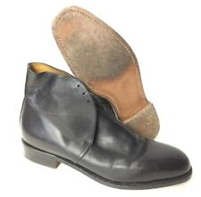 GEORGE BLACK LEATHER ANKLE DRESS BOOTS - Size: 9 Small , British Army Issue
