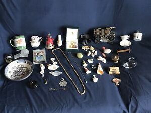 Junk drawer treasures, antiques, vintage, china, Jewelry, collectibles lot