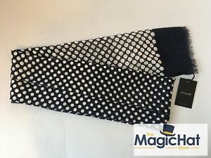 Jigsaw Hurst Scarf Cotton Made in Italy Polka Dot Pattern Ocean Blue Mod Cravat