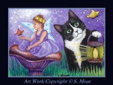 Tuxedo Kitten Cat Fairy Girl Butterfly Fantasy ACEO Limited Edition Art Print