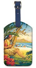 Leatherette Travel Luggage Tag Baggage Label - Waikiki by Kerne Erickson