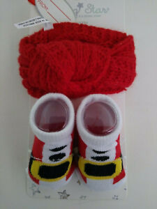 Neat Solutions My First Christmas Infant Baby Girl Santa Socks & Turban Set