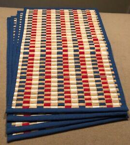 "Sonoma Patriotic Placemats Set of 4 Cotton/Banana Bark 13.5x21"" Excellent!"