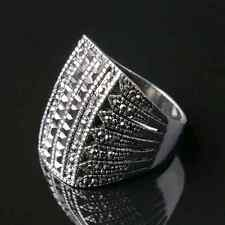Silver Plated Black Stone Vintage Unisex Ring Personality Jewelry