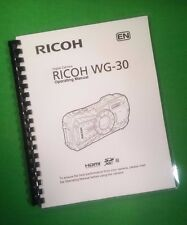 Laser Printed Ricoh Camera Wg-30, Camera 204 Page Owners Manual Guide