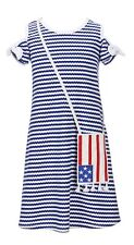 Bonnie Jean Little Girls Cold-Shoulder Americana Striped Shift Dress-Size-5 or 6