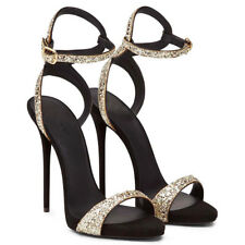 Women Black Stiletto High Heel  Ankle Strappy Gold Glitter Sandals Summer Shoes