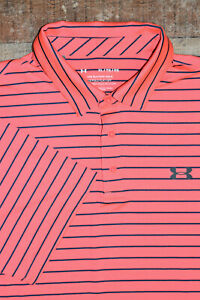 Under Armour UA Playoff Core Heather Golf Polo Shirt Men XL Pink / Coral Striped