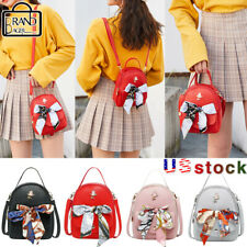 Women Scarf Mini Backpack Purse Leather Handbag Small Rucksack Shoulder Bags US