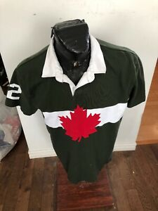 MENS Large HBC Short Sleeve Cotton Collared Shirt Olympic Team Canada 2012