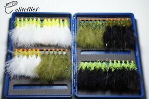 eliteflies 48 Dancer/ Beaded lures Barbless box fly fishing flies hothead damsel