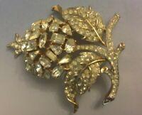 Vtg Crown Trifari Stunning Clear Rhinestone Flower Gold Tone Brooch Pin