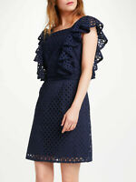 New Somerset Alice Temperley Broderie Dress, Navy Blue, UK 16, RRP £160