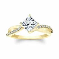 1.45 Ct 14K Yellow Gold Moissanite Princess Solitaire Diamond Engagement Ring