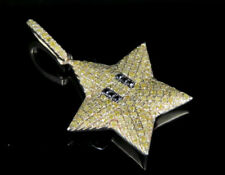 10K Yellow Gold Real Canary Diamond Mario Star Pendant 2/5 CT 1.1