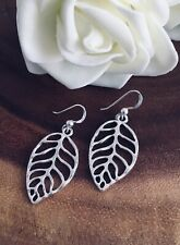 925 Sterling Silver Drop Dangle Hook Earrings With Silver Plated Leaf Leaves