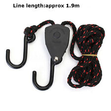 2x Grow Light Hanger 1/8 Adjustable Rope Ratchets Hydroponics 150lbs 68kg Weight