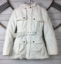 Zara Jacket White Silver 3 in 1 Utility Funnel Coat Removable Quilt Lining Sz S