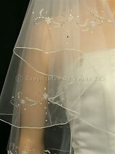 2T Ivory Bridal Fingertip Length 8 Motifs Beaded Pencil Edge Wedding Veil