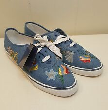 Sebastino 13M Blue Denim Shoes Sneakers Nautical NEW Embroidered Fish Anchor