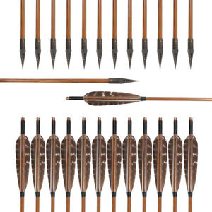 """Archery Hunting Bamboo Shaft Arrows 5"""" Fletching Feathers with 150 Gr Broadheads"""