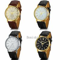 Classic Mens Womens Luxury Leather Band Gold Tone Dial Analog Quartz Wrist Watch