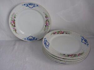 Vtg Set of 6 Hand Painted Ceramic Dinner Plates White Pink Floral Blue Heart
