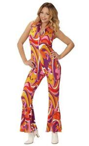 70's Disco Diva Vintage Groovy Jumpsuit Orchid Ladies Fancy Dress Costume S-L