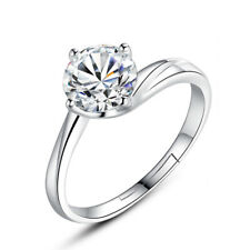 S925 Sterling Silver 6mm Shiny Zircon Ring Women Fashion Jewelry Size 6