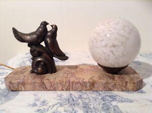French Art Deco Style Marble Base Desk Table Lamp Light - Love Birds (3196)