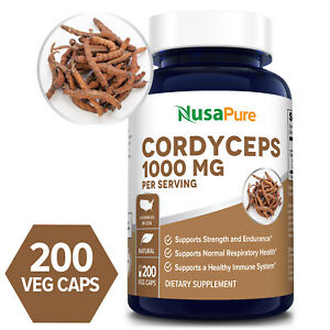 NusaPure Cordyceps Extract 1000 mg -200 Veg Caps ( Non-GMO & Gluten-free)