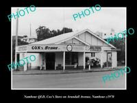 OLD POSTCARD SIZE PHOTO OF NAMBOUR QLD VIEW OF COXS GENERAL STORE c1970
