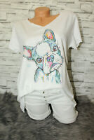 Italy New Collection T-Shirt weiß Mops Hund Gr. 36 38 40 42 blogger Strass