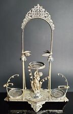 Antique Middletown Silver Plate Figural Putti Perfume Vanity Stand Lilly Valley
