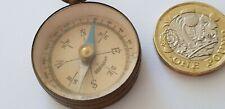 Vintage Small Brass German Pocket Compass  Collectible  3cm Diameter