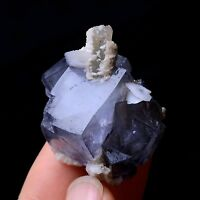 Newly DISCOVERED RARE PURPLE FLUORITE & CRYSTAL CALCITE MINERAL SPECIMEN 33.13g