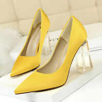 Women's Pointed Toe Transparent Slip On Chunky Heel Wedding Clubwear Party Pumps