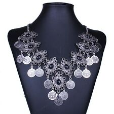 Tribal Jewelry Antique Silver Tone Flower Bib Chandelier Black Agate Necklace