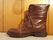 SIMEN Brown Lace-Up Leather Combat Mid-Calf Boots Womens Size 9 Retail $129