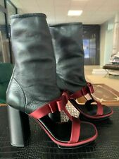 PRADA Iconic Peep Toe Boots Stretch Ankle Boots Pumps Shoes 38.5