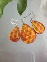 Fused Dichroic Art Glass Jewelry Matching Set Red Teardrop Earrings Pendant