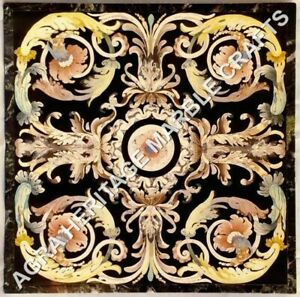"""42"""" Square Marble Black Dining Center Table Top Pietra Dura Inlay Decor H5232A"""