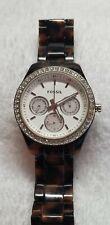 Fossil Stella ES2456 quartz Watch for Women Brown tortoise band and case inlay